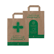 Picture of Brown Paper Pharmacy Carrier Flat Handle - EMTBM